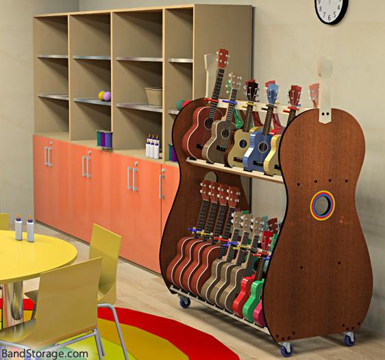 Modular Classroom Sizes ~ Mobile multi size ukulele storage rack for classrooms band