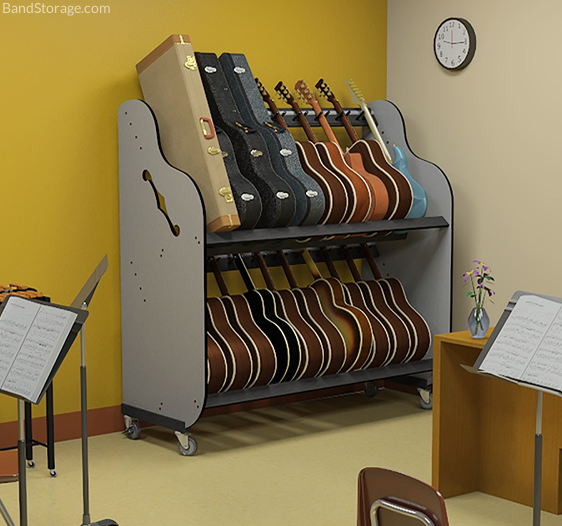guitar storage carts for music classrooms band storage. Black Bedroom Furniture Sets. Home Design Ideas