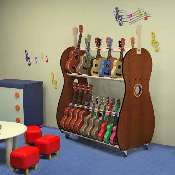 Ukulele storage cart in kindergarten