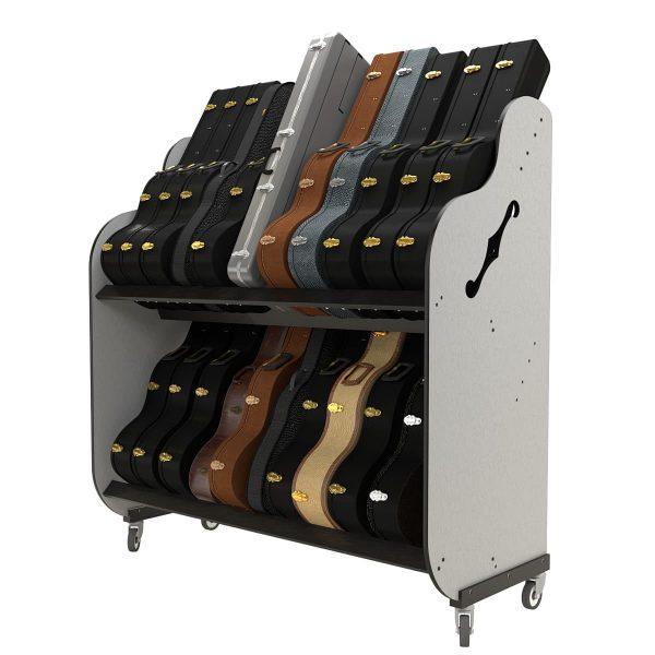 guitar case storage shelves side view