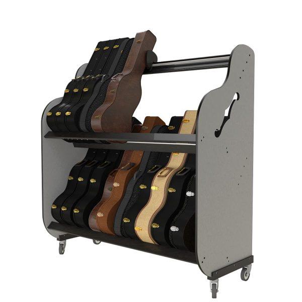guitar case storage shelves (partially full)
