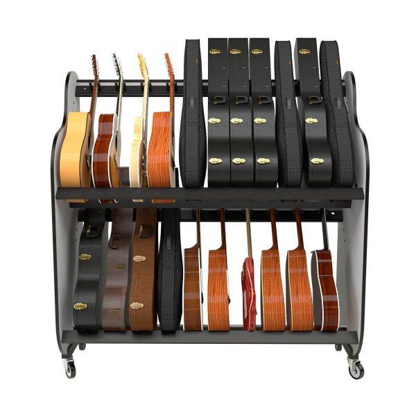 guitar storage cases on shelves